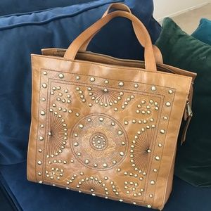 Hobo Avalon Leather Gold Studded Tote